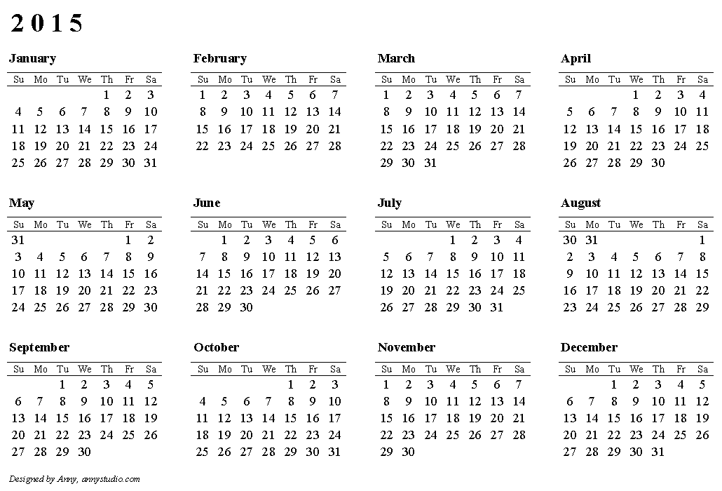 Basic Calendar Template 2015 Idealstalist