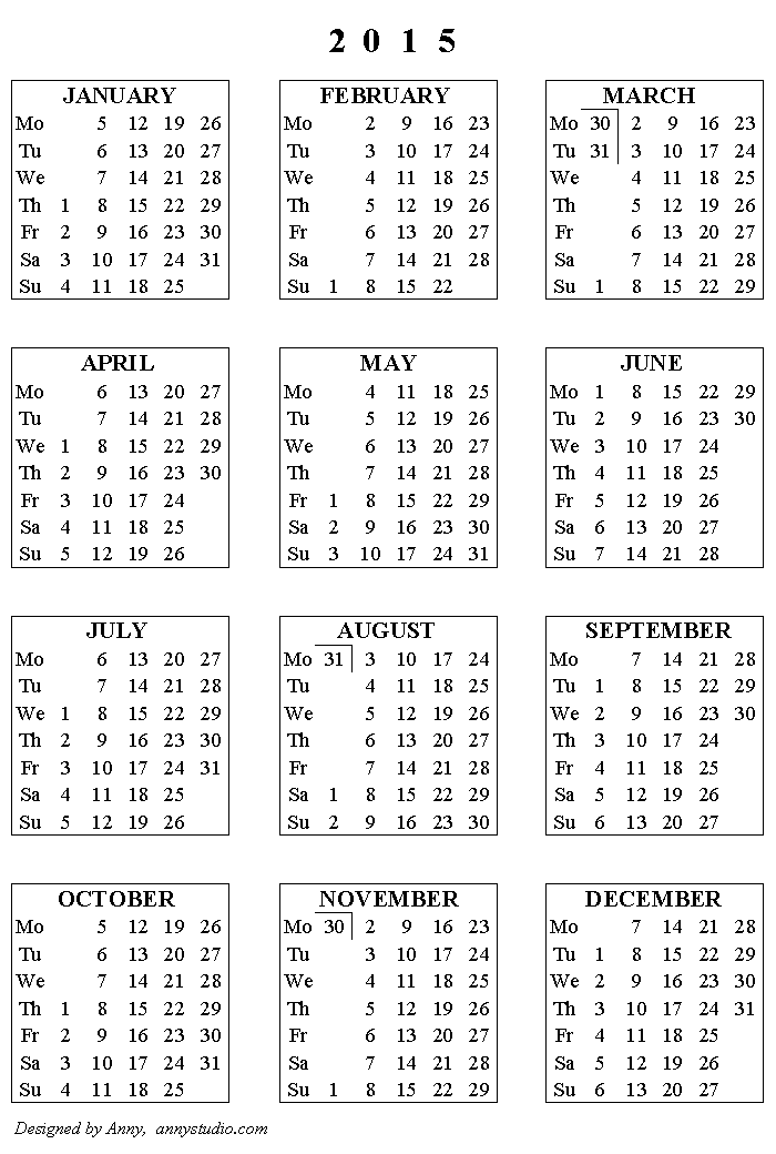Printable Calendar For 2015 And 2018 Yeniscale