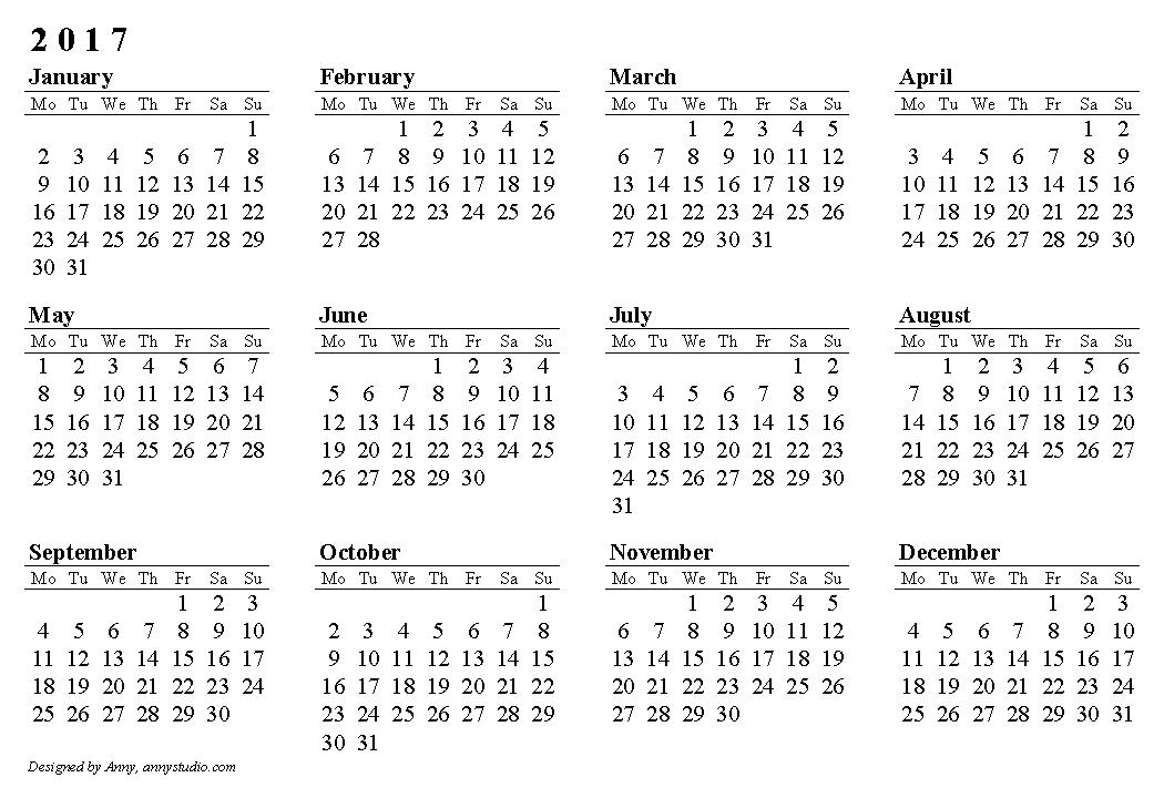 Pocket Calendar 2017 Printable | Calendar Template 2016