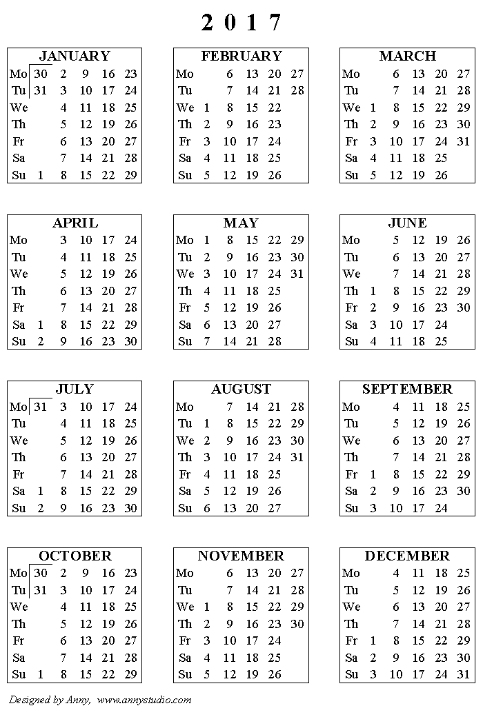 Full Year Calendar 2017 2018 Printable | Calendar Template 2016