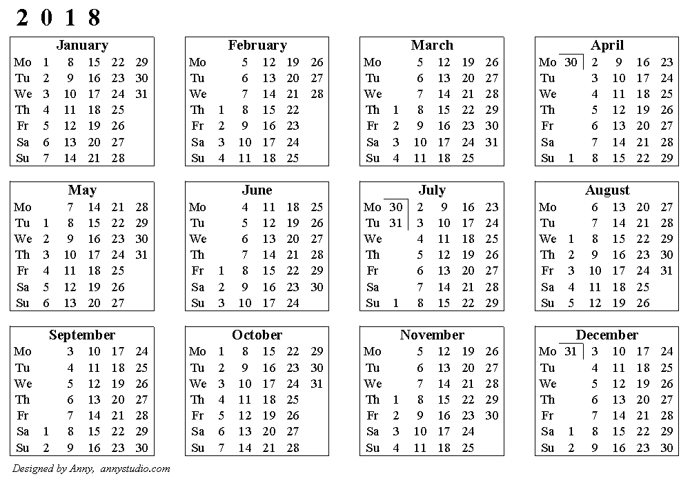 2018 calendar with week numbers printable