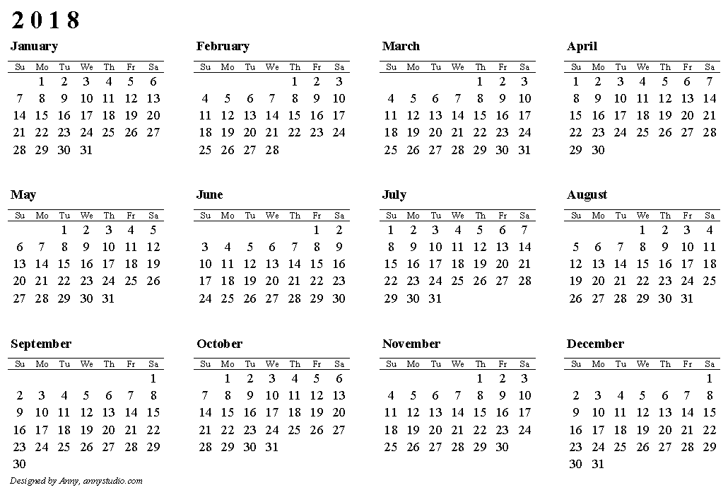 Printable 2016 Monthly Calendar Template from annystudio.com