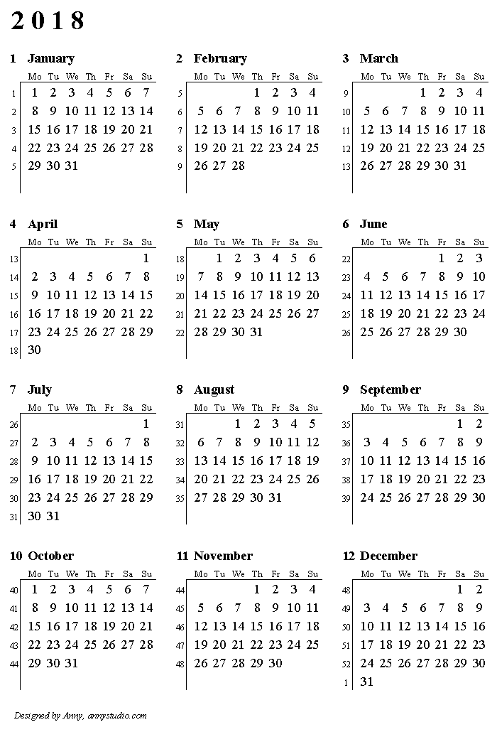 calendar 2018 with week and month numbers by iso 8601 vertical paper orientation image