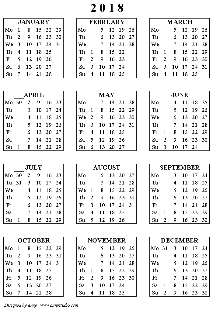 Free printable Calendars and Planners 2017, 2018 and 2019