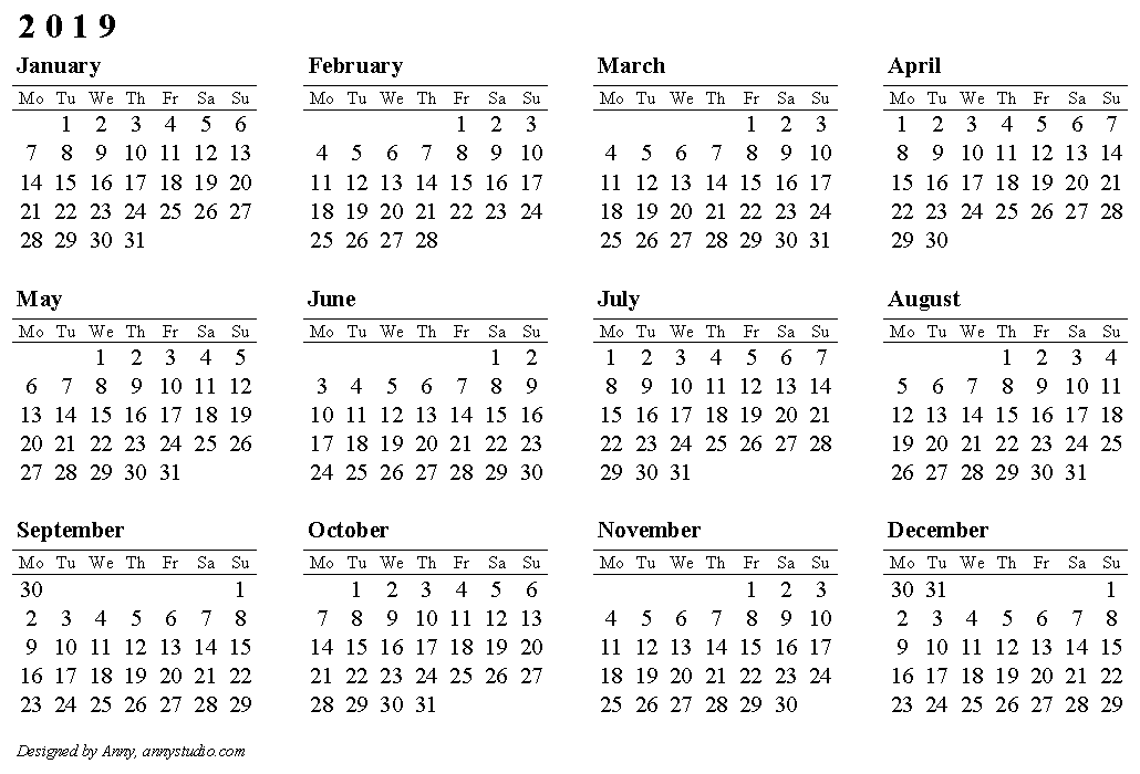 Printable Calendar 2019, Landscape Page Orientation, Weeks In Rows, Start  On Monday