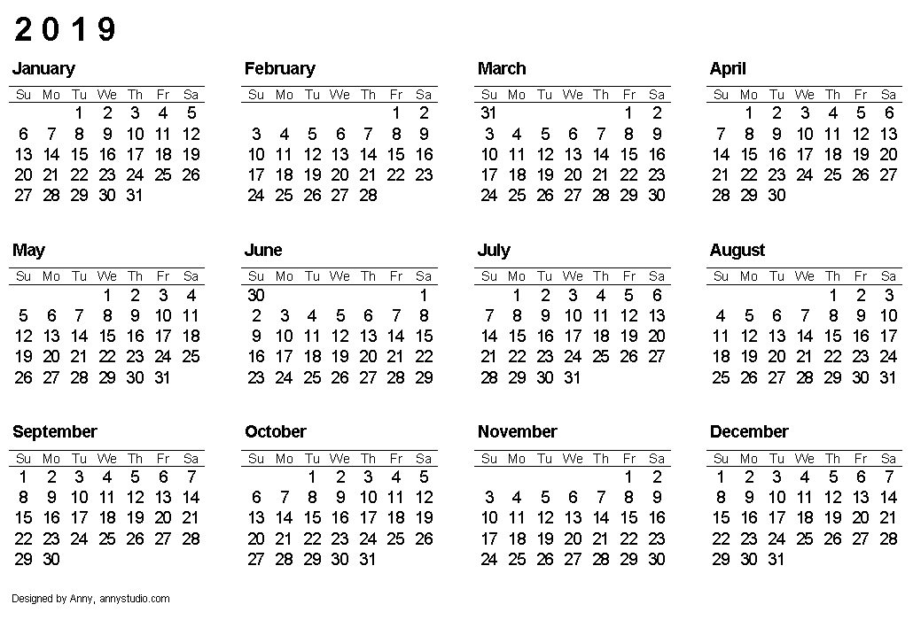printable calendar 2019 landscape paper orientation weeks are in rows and start on sunday