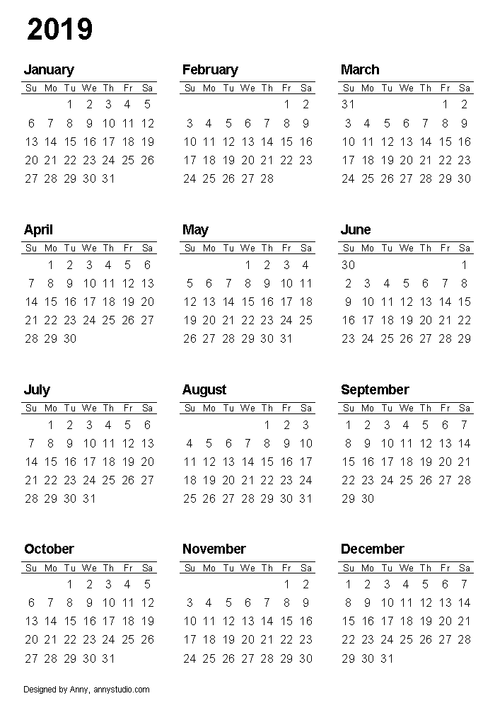 Printable Calendar 2019, Portrait Paper Orientation, Weeks Are In Rows And  Start On Sunday