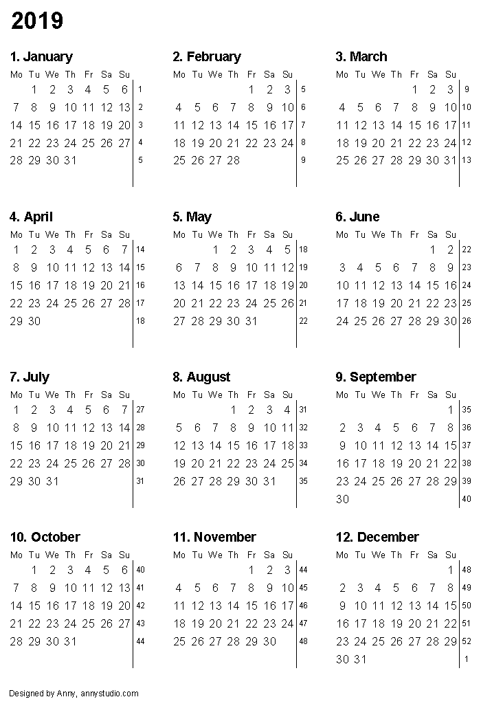 printable calendar 2019 with month numbers and week numbers vertical paper orientation weeks