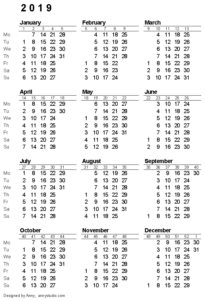 calendar 2019 with week numbers by iso 8601 portrait paper orientation image