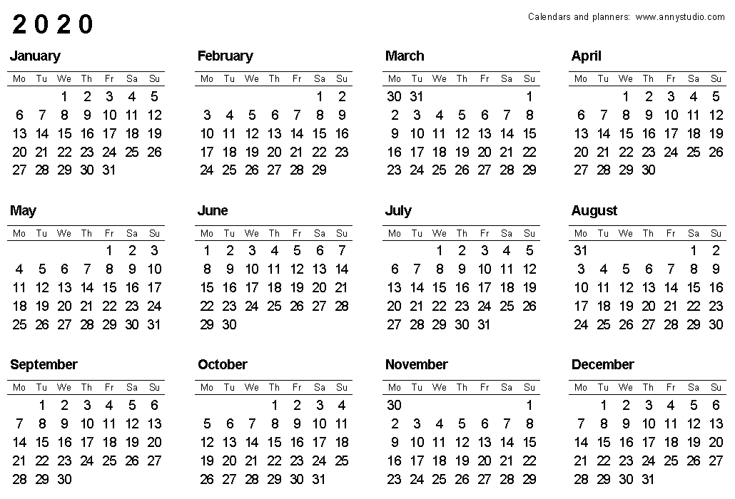Calendars Printable 2020 Free Printable Calendars and Planners 2019, 2020, 2021, 2022