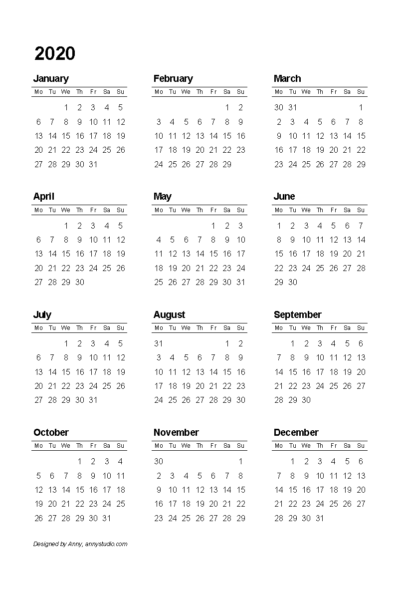 graphic relating to Printable 2020 Calendar referred to as Anny Studio