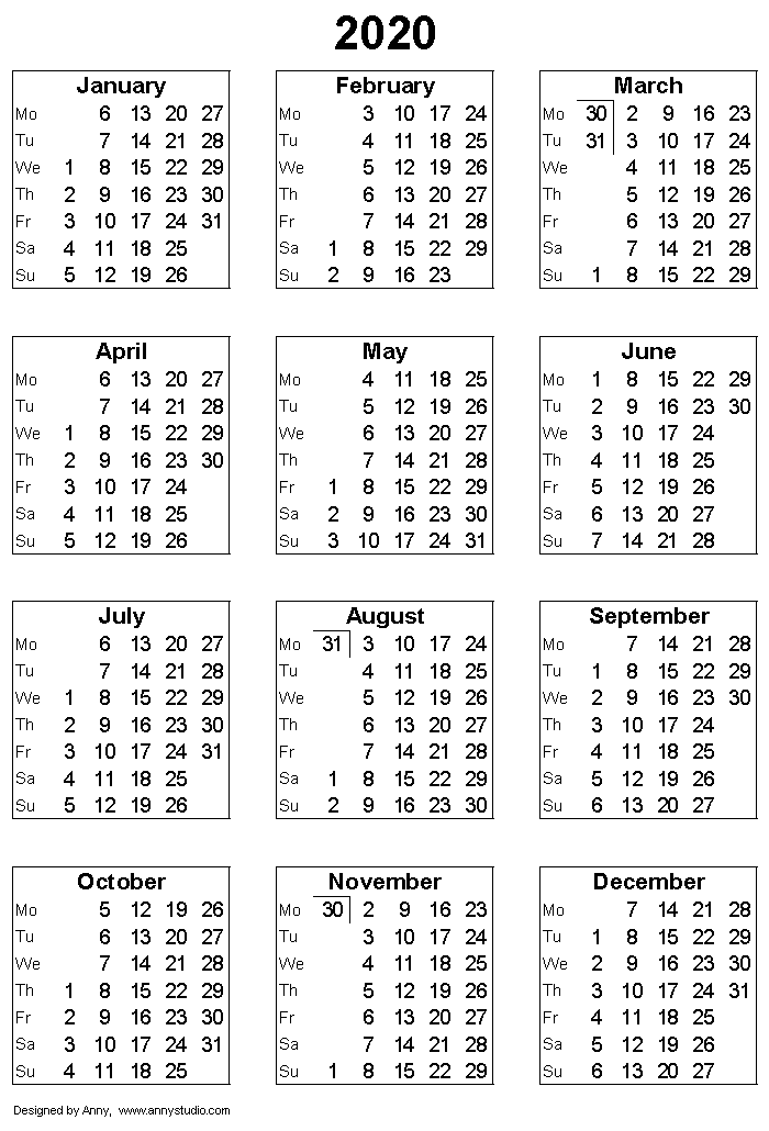 2020 Calendar With Weeks Free Printable Calendars and Planners 2019, 2020, 2021, 2022