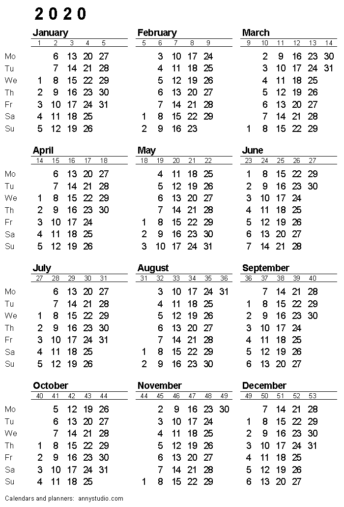 2020 Calendar With Week Numbers Free Printable Calendars and Planners 2019, 2020, 2021, 2022